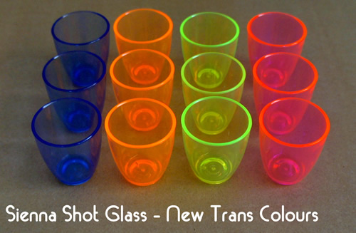 Plastic Shot glasses in new trans colours from Darsim Plastics
